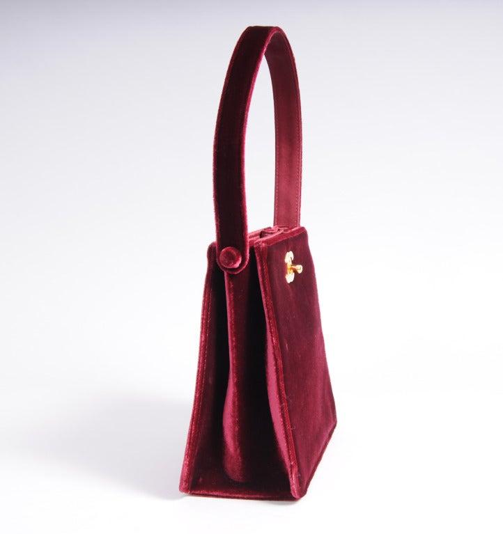 Chanel Red Burgundy Velvet Evening Bag 3