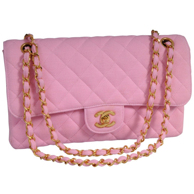 Chanel Haute Couture Runway Worn Pink Jersey 2.55  Bag 1