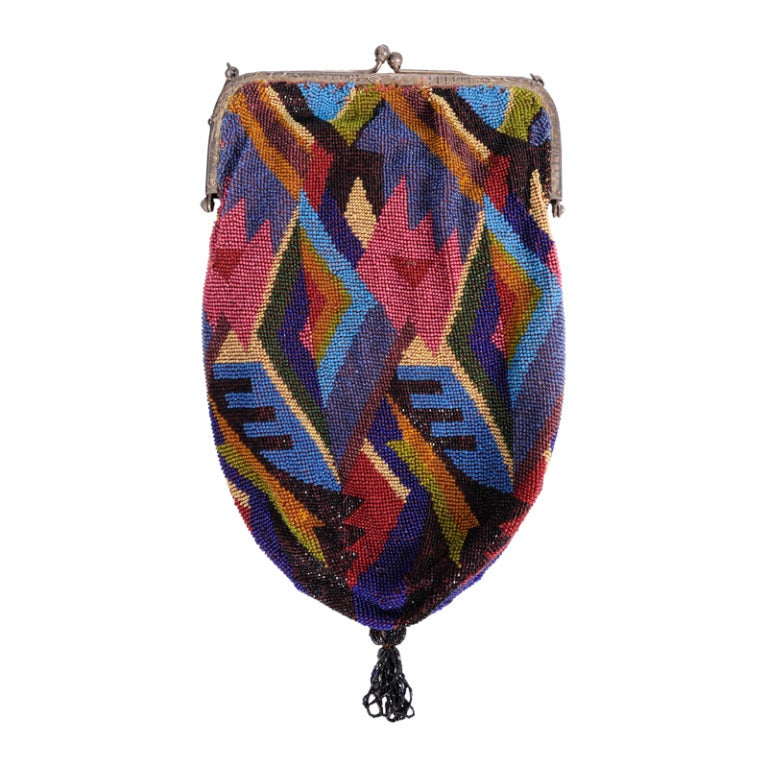 Graphic Art Deco 1920's Flapper Beaded Bag