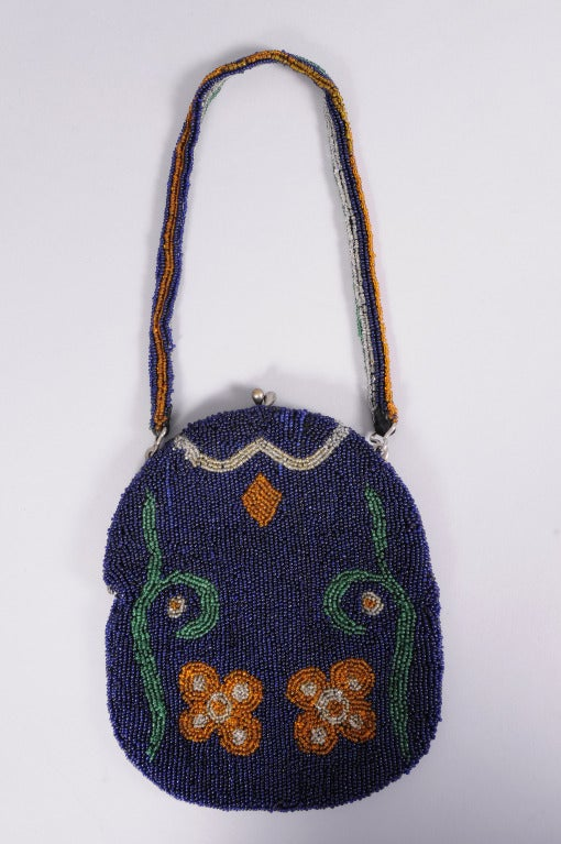 Edwardian Navy Blue Bag with Floral Decoration 3