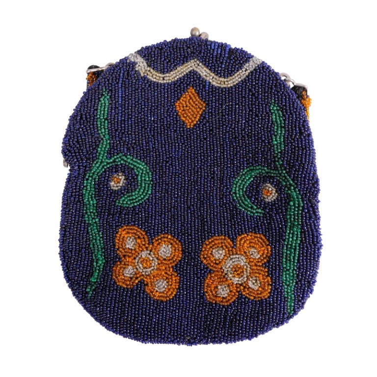 Edwardian Navy Blue Bag with Floral Decoration For Sale