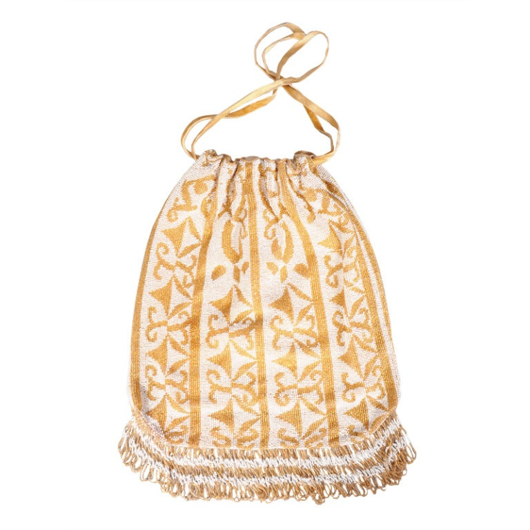 Glamourous Gold & Cream Beaded Drawstring Bag circa 1920