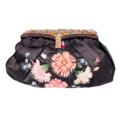 1950's French Embroidered Satin Clutch Bag