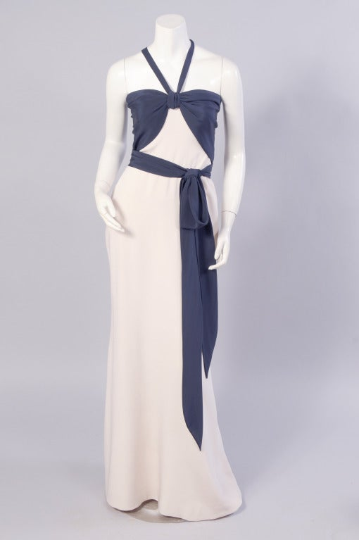 Yves saint laurent haute couture navy and cream silk for Haute couture dress price
