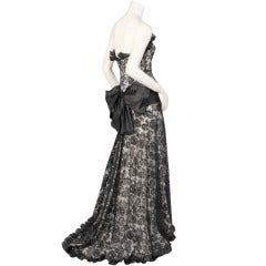 Yves Saint Laurent Haute Couture Strapless Black Lace Evening Dress