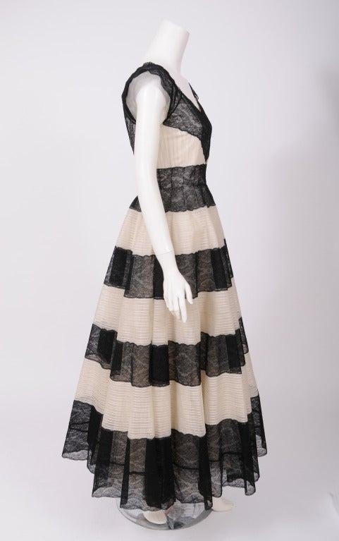 Black Jean Patou 1930's Lace & Tulle Evening Dress For Sale