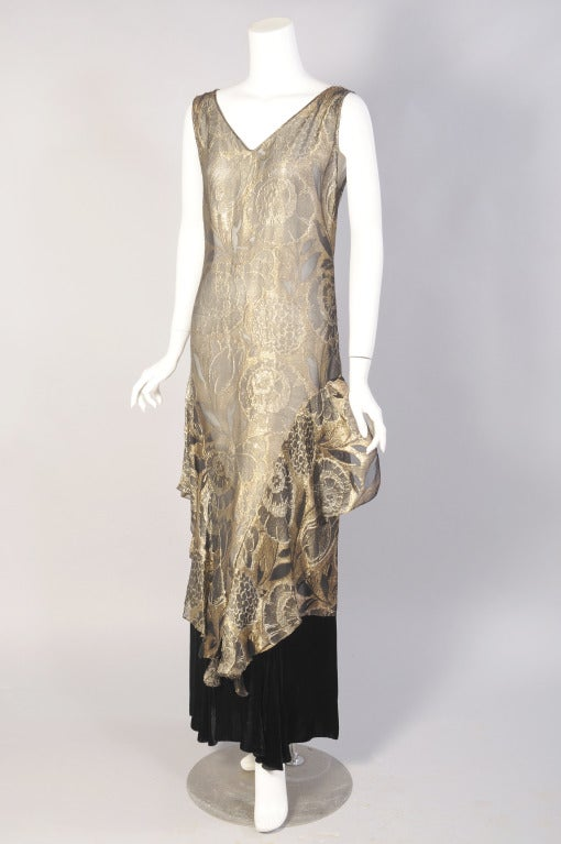 1920's Gold Lame & Velvet Orientalist Dress and Coat Ensemble 2