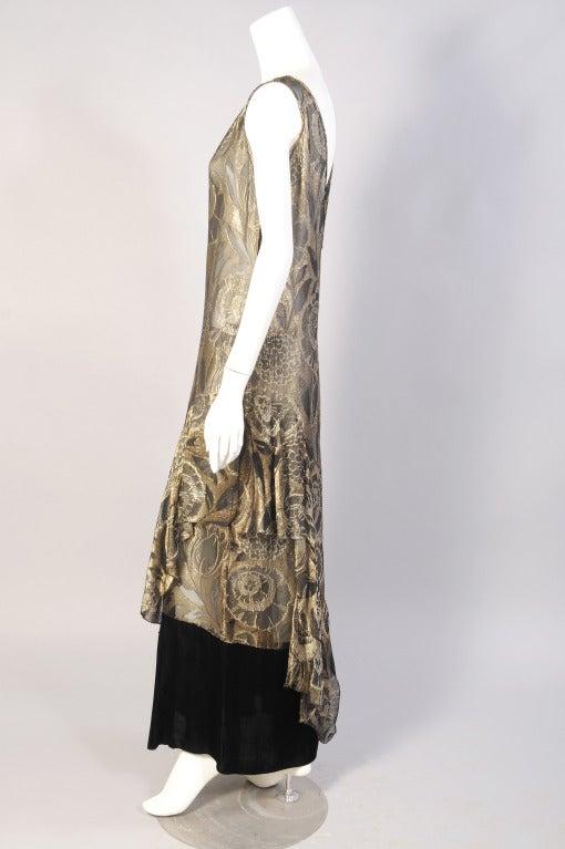 1920's Gold Lame & Velvet Orientalist Dress and Coat Ensemble 3