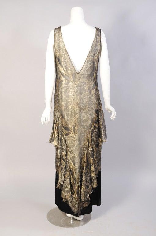 1920's Gold Lame & Velvet Orientalist Dress and Coat Ensemble 4
