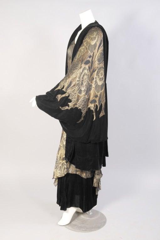 1920's Gold Lame & Velvet Orientalist Dress and Coat Ensemble 5