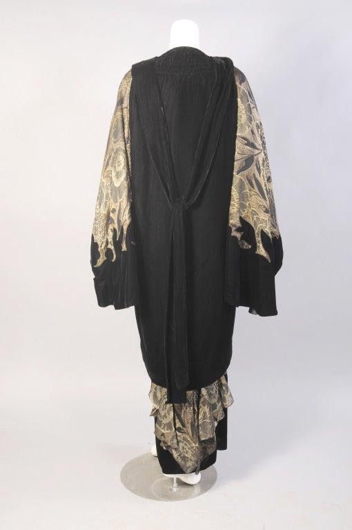 1920's Gold Lame & Velvet Orientalist Dress and Coat Ensemble 6