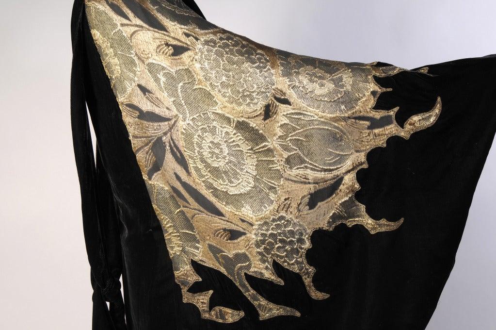 1920's Gold Lame & Velvet Orientalist Dress and Coat Ensemble 7