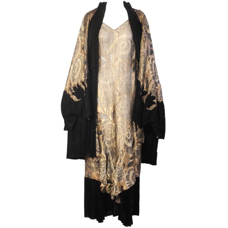 1920's Gold Lame & Velvet Orientalist Dress and Coat Ensemble 1