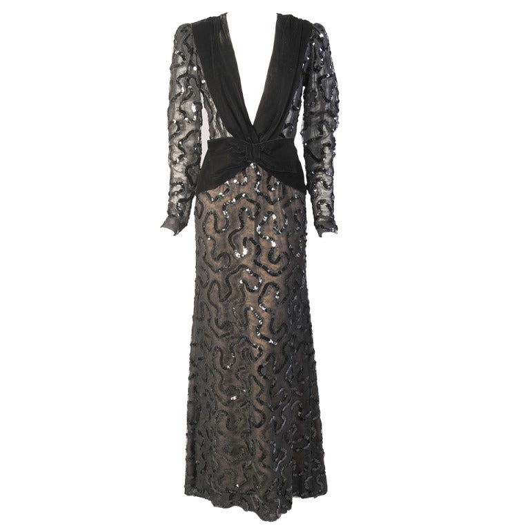 Givenchy Beaded  Black Lace Dress For Sale