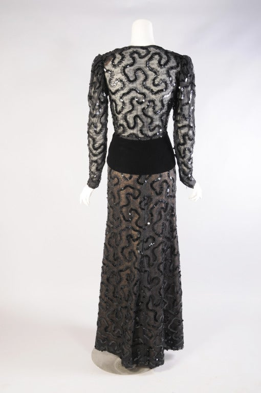 Givenchy Beaded  Black Lace Dress In Excellent Condition For Sale In New Hope, PA