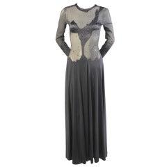 Giorgio di Sant Angelo Appliqued Sheer Evening Dress
