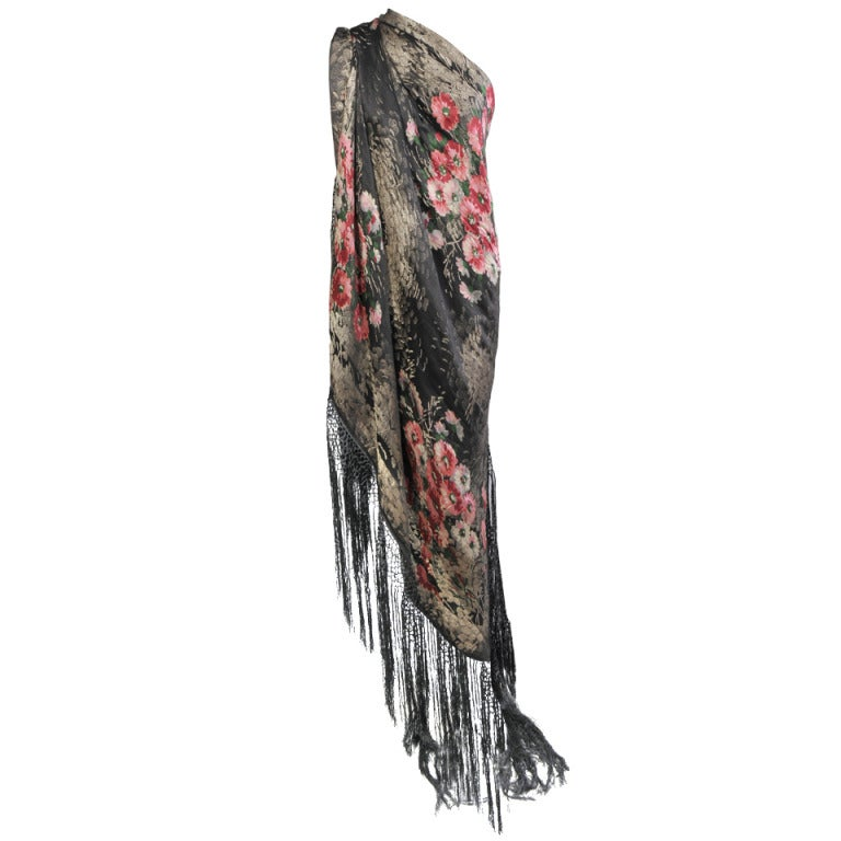 1920's French Floral Lame Shawl 1