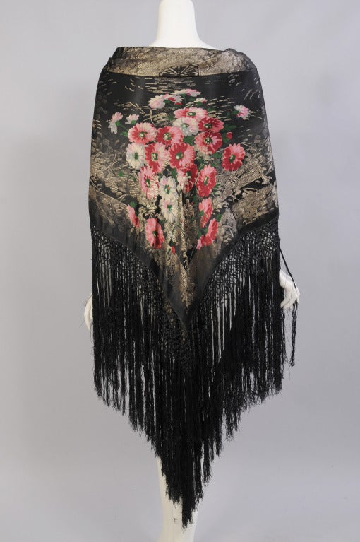 1920's French Floral Lame Shawl 2