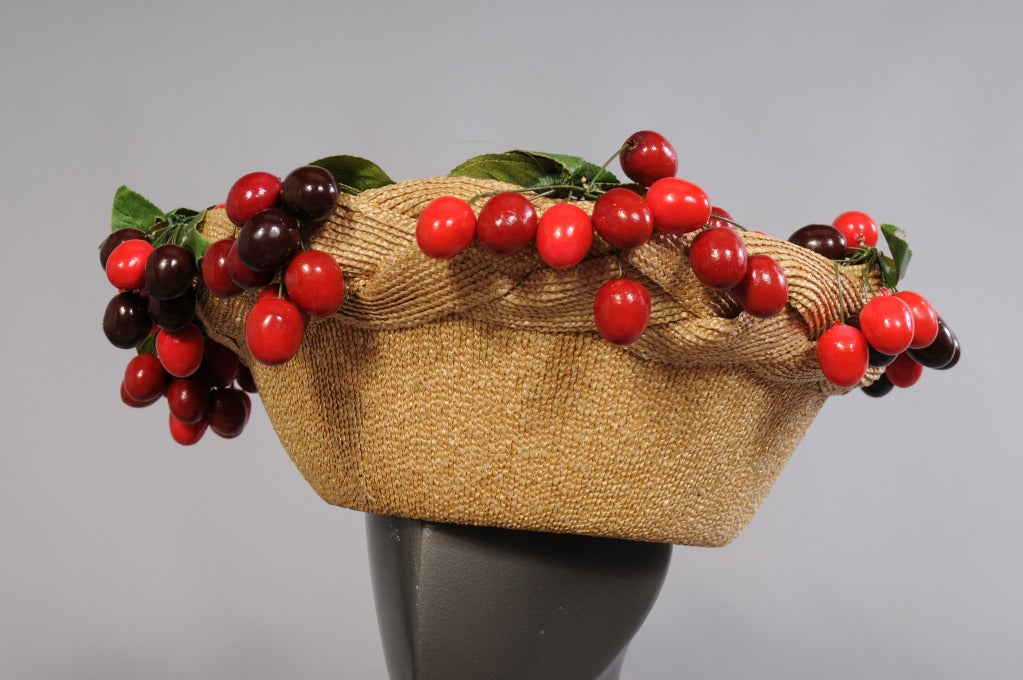 Isabel Canovas Cherry Topped Straw Hat 2