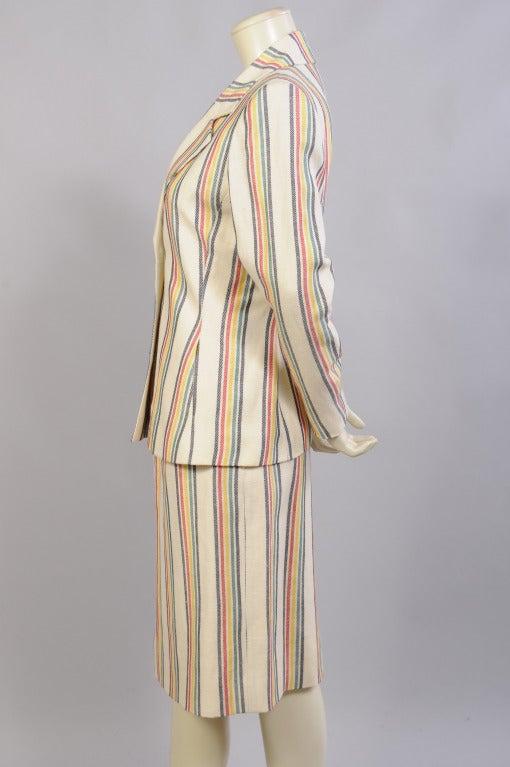 Beige Hermes Striped Suit For Sale