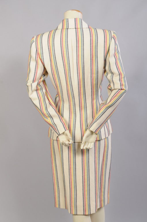 Hermes Striped Suit In Excellent Condition For Sale In New Hope, PA