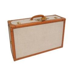 Yves Saint Laurent Leather & Toile Hard Sided Suitcase