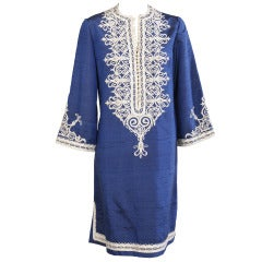Blue Silk Caftan with White Silk Braid Applique
