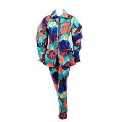 Issey Miyake Brightly Colored Bonded Nylon Zip Front Jacket and Pants
