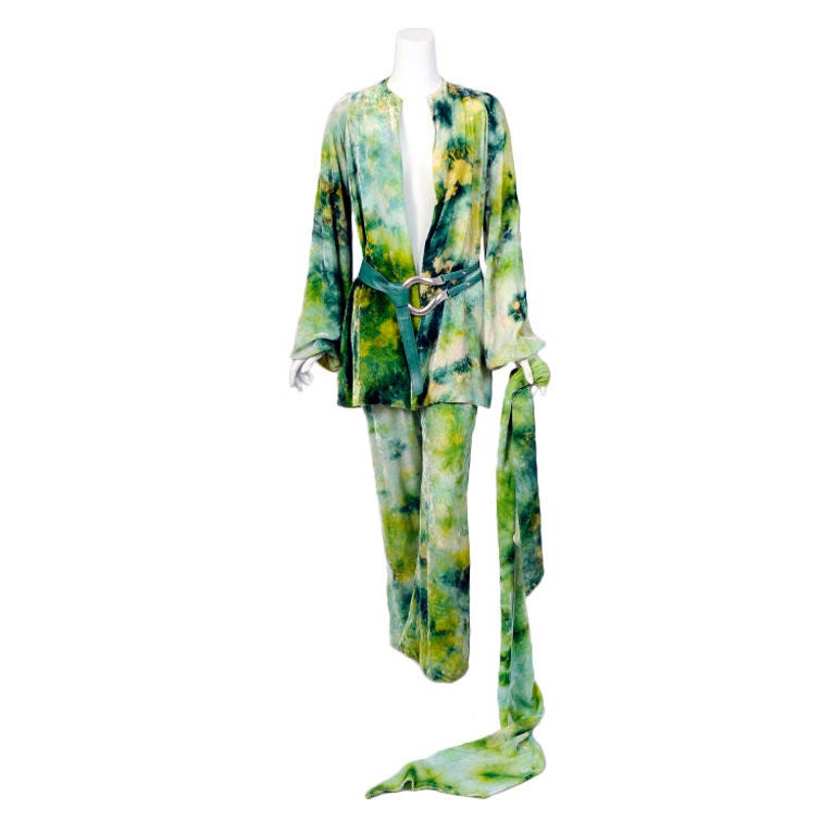 RARE Halston Tie Dyed Outfit For Sale