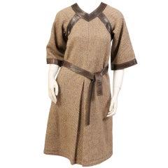 Jean Muir Tweed & Leather Dress