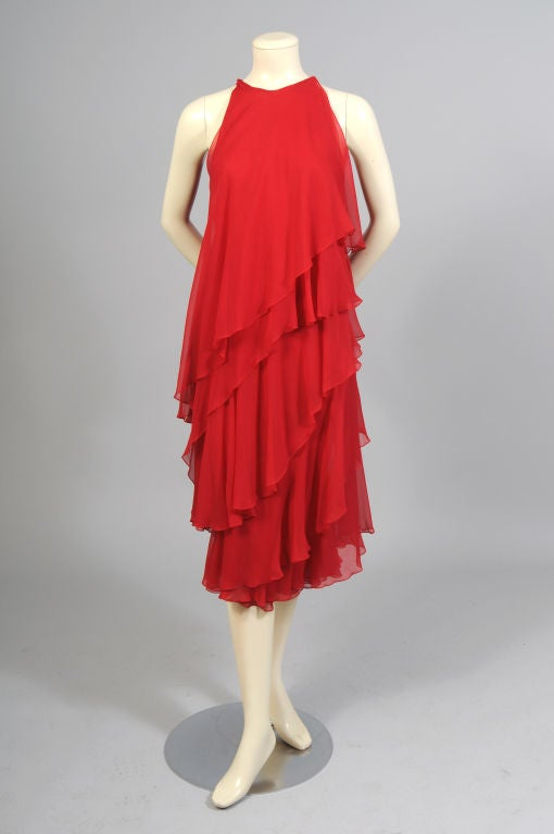 1970's Halston Red Tiered Chiffon Cocktail Dress 2