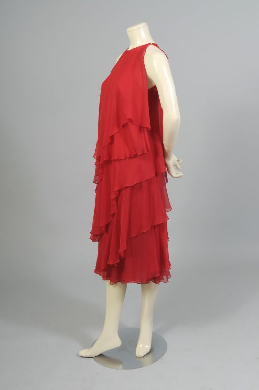 1970's Halston Red Tiered Chiffon Cocktail Dress 3