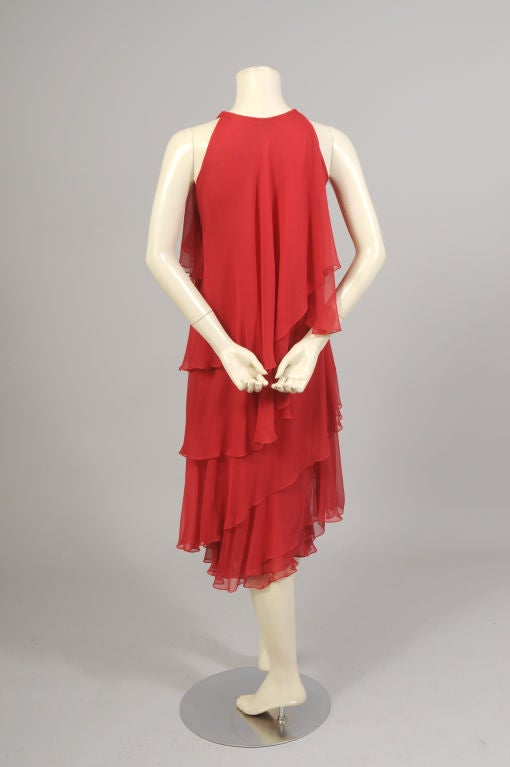 1970's Halston Red Tiered Chiffon Cocktail Dress 4
