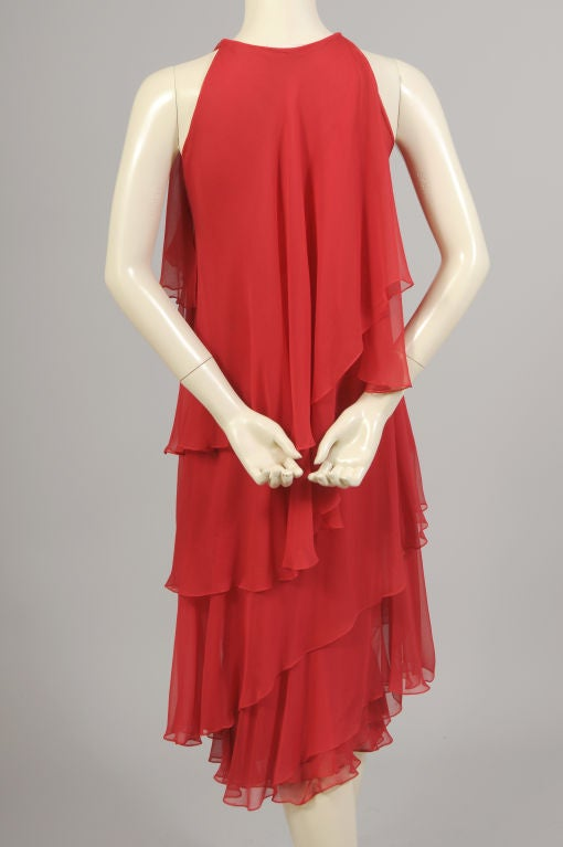 1970's Halston Red Tiered Chiffon Cocktail Dress 5