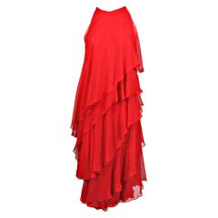 Halston Red Tiered Chiffon Cocktail Dress, 1970s