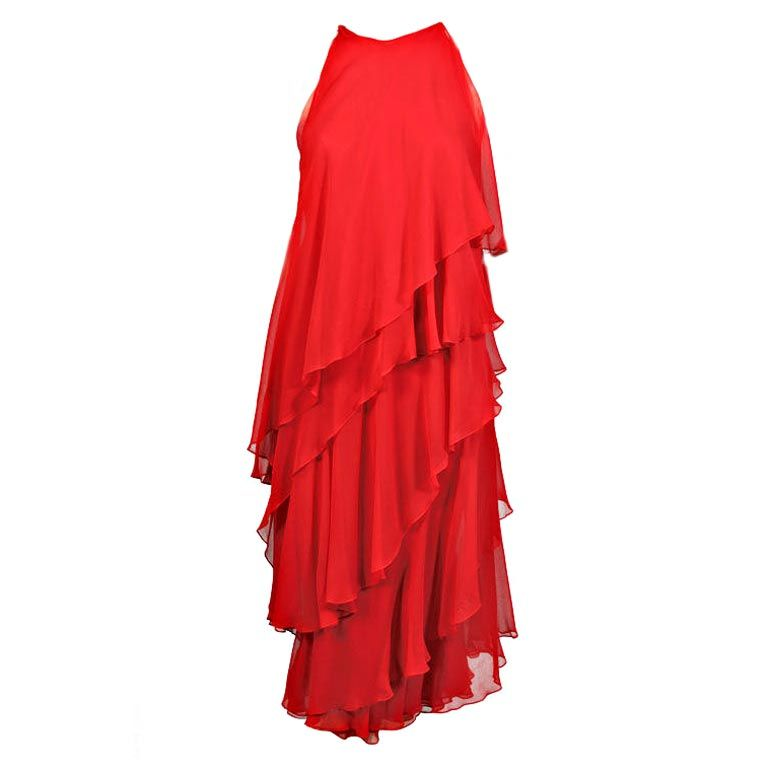 1970's Halston Red Tiered Chiffon Cocktail Dress 1