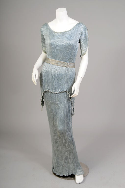 Fortuny Peplos Dress And Belt At 1stdibs