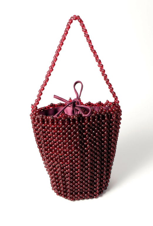 Bottega Veneta Ruby Red Beaded Handbag 5