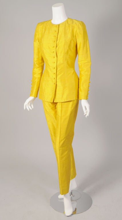 Pierre Balmain Haute Couture Chrome Yellow Silk Tunic & Pants For Sale 1