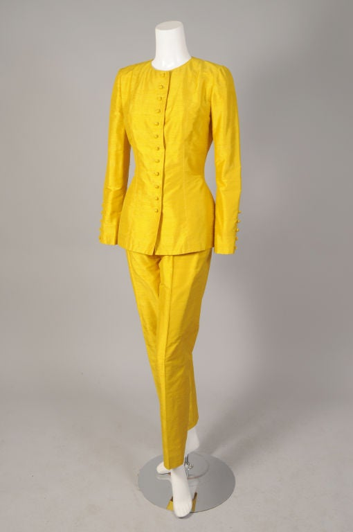 Pierre Balmain Haute Couture Chrome Yellow Silk Tunic & Pants For Sale 2