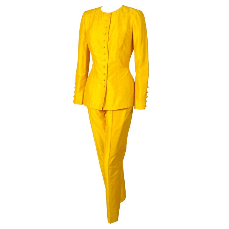 Pierre Balmain Haute Couture Chrome Yellow Silk Tunic & Pants For Sale