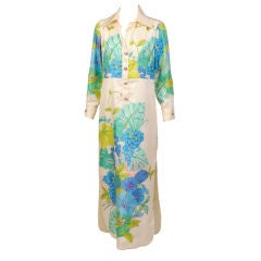 Tina Leser Original Vibrant Multicolor Floral Print Silk Dress