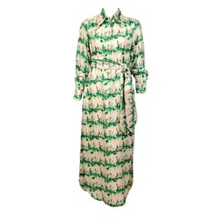 Tina Leser Original Green and Cream Nautical Silk Print Dress