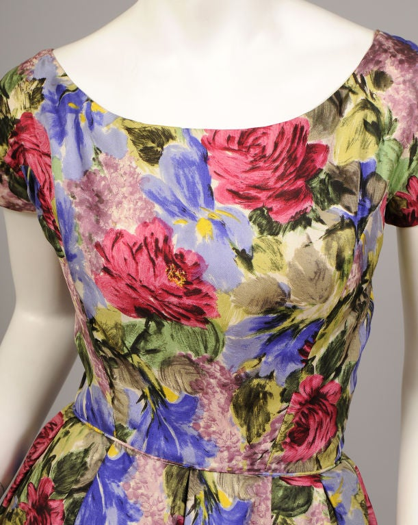 1950's Bergdorf Goodman Floral Print Silk Dress 2