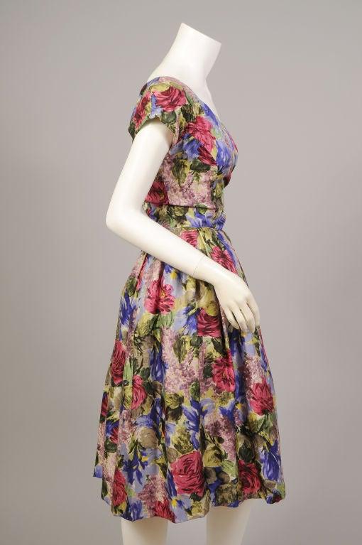 1950's Bergdorf Goodman Floral Print Silk Dress 3