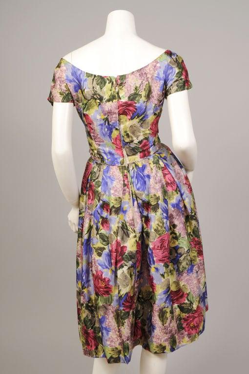 1950's Bergdorf Goodman Floral Print Silk Dress 4