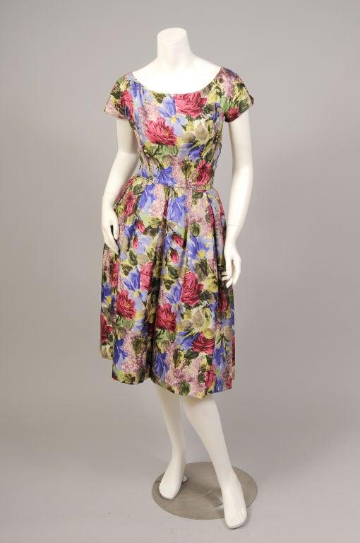 1950's Bergdorf Goodman Floral Print Silk Dress 5