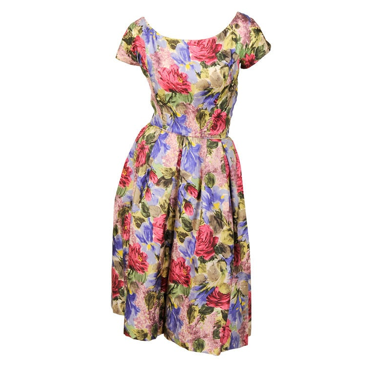 1950's Bergdorf Goodman Floral Print Silk Dress