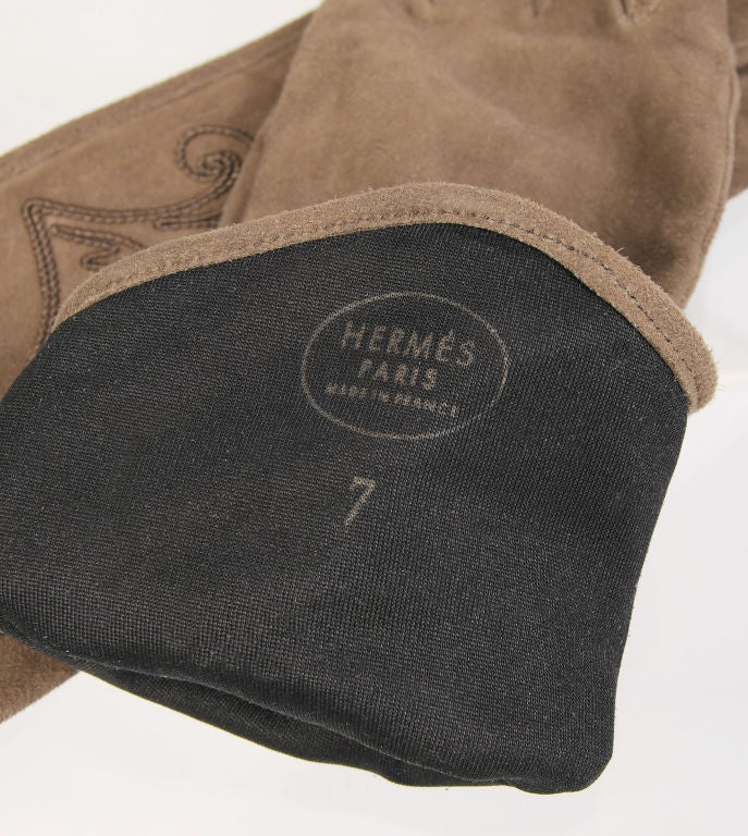 Hermes Suede Gloves with Soutache Trim, Never Worn size 7 3