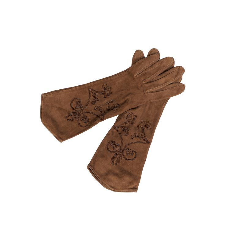 Hermes Suede Gloves with Soutache Trim, Never Worn size 7 For Sale